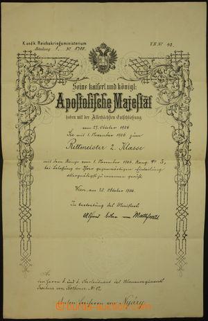 175486 - 1906 POVYŠOVACÍ DEKRET K.u.K. armády na rotmistra II. třídy;
