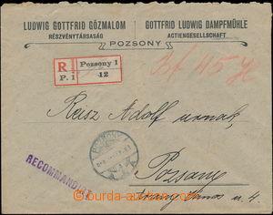 176088 - 1919 firemni R-dopis v místě vyplacený hotově, DR POZSONY 91