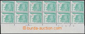 176376 - 1993 Pof.15, Plzeň 5Kč, krajový svislý 12-blok s VV - posun