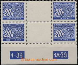 179979 - 1939 Pof.DL14, 20K blue, 2-stamps. detached gutter with plat
