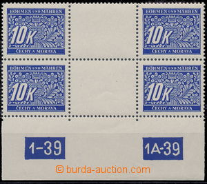 179980 - 1939 Pof.DL13, 10K blue, 2-stamps. detached gutter with plat