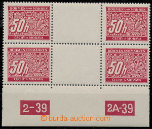 179981 - 1939 Pof.DL6, 50h red, 2-stamps. detached gutter with plate