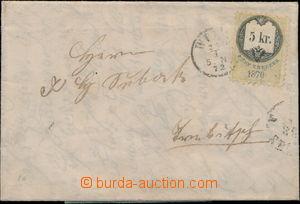 180336 - 1872 skládaný dopis vyfr. fiskálním kolkem 5Kr emise 1870 na