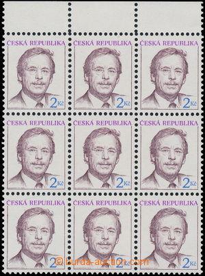 181638 - 1993 Pof.3, Havel 2Kč, 9-blok s horním okrajem, VPO - velké