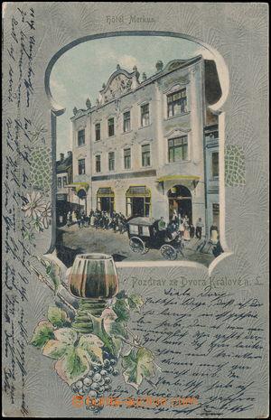 182720 - 1902 DVŮR KRÁLOVÉ NAD LABEM - hotel Merkur, koláž Okno, DA,