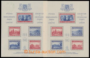 182792 - 1943 AS1, Londýnský aršík, 2ks, 1x se slabší otisk zeleného