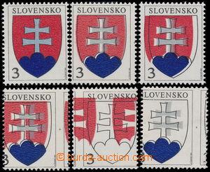 183052 - 1993 MAKULATURA  Zber.2, Státní znak 3Sk, sestava 5ks zn. s