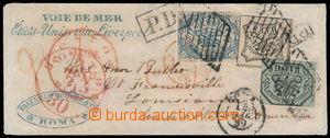 183354 - 1852 dopis z Říma do USA frankovaný Sass.7, 9, 10, Znak 6Baj