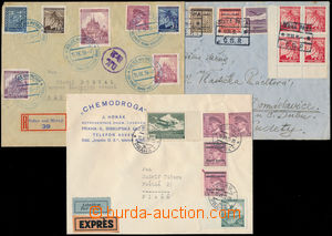 183515 - 1939 3 letters with mixed frankings Czechoslovakia + Protekt