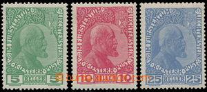 183780 - 1912 Mi.1y-3y, Johann II. 5H-25H; obyčejný papír, 25H ultram