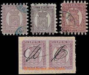 184004 - 1866 Mi.5, Znak 5Pen hnědofialová, 3ks a 2-páska, od světlé