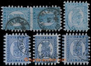184010 - 1866 Mi.8C, Znak 20Pen, svislá 2-páska a 4ks, světlé modrá a