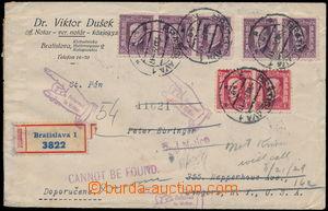 184147 - 1929 firemní R-dopis zaslaný do USA, vyfr. zn. emise TGM 75.