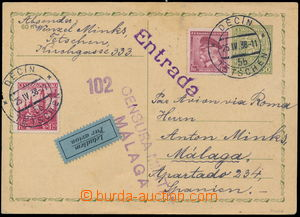 184170 - 1938 air postcard Coat of arms 50h to Spain, uprated with st