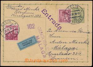 184170 - 1938 Let-dopisnice Znak 50h zaslaná do Španělska, dofr. zn.