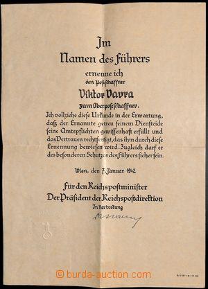 184179 - 1942 DEUTSCHES REICH/ promotion warrant for head postal prův