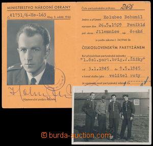 184189 - 1945 PARTYZÁNSKÝ PRŮKAZ/  na jméno Bohumil Holubec (*1909),