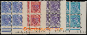 184608 - 1944 FRANCE  Mi.557-560, Mercure 10c - 50c, complete set in/