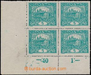 185864 -  Pof.4A STs, 5h modrozelená, levý dolní rohový 4-blok s počí