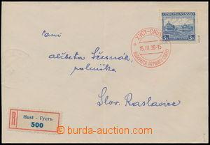 186105 - 1939 CHUST  R-dopis zaslaný na Slovensko, vyfr. zn. Pof.351,