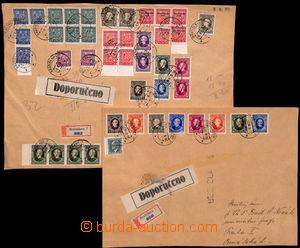 186352 - 1939 sestava 2ks adresních přebalů R-balíků adresovaných do