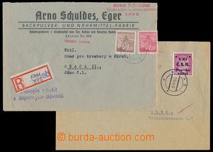 186436 - 1945 AŠ  dopis do Chebu vyfr. zn. 6Pf AH s přetiskem 1Kč/ Č.