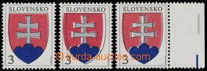 186591 - 1993 Zber.2 VV, Znak, sestava 3ks s různými posuny barev