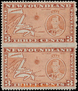 186771 - 1937 SG.258ecb, George VI. Coronation 3C, vertical pair, in