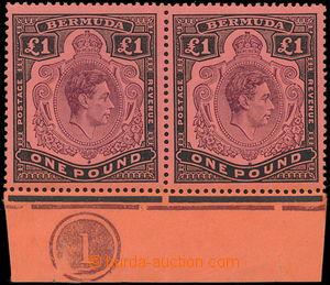 186773 - 1938 SG.121b/121be, krajová 2-páska s DČ Jiří VI. £1, v
