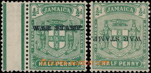 186840 - 1916 SG.68b,c, 2x Znak 1/2 zelená, WAR STAMP, přetisk DVOJIT