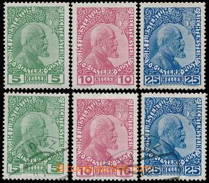 186890 - 1912 Mi.1x-3x, Johann II. 5H-25H; neupotřebená a raz. série
