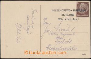186942 - 1938 pohlednice vyfr. německou zn. Hindenburg 10Pf s provizo