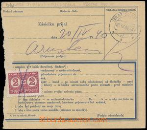 187129 - 1940 balíková průvodka bez levého útržku s vytištěným kolkem