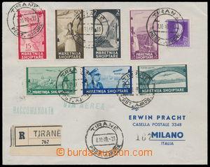 187288 - 1940 R+Let-dopis do Milána, mj. s Mi.313-319, letecké 5Q-3