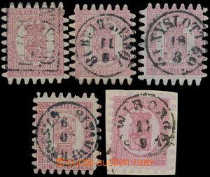 187350 - 1866 Mi.9C, 5x Velký znak 40P zoubkování C, vybraná kvalita