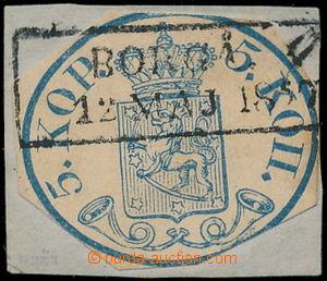 187354 - 1856 Mi.1I, Znak 5Kop modrá, malé perly, na výstřižku s ráme