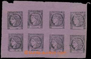 187875 - 1877 CORRIENTÉS - Sc.8a, rohový 8-blok Ceres 3C černá / červ