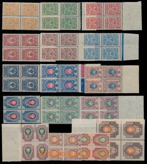 187911 - 1908-1915 Mi.63-77, Znak 1K-1R, vše krajové 4-bloky, I. nákl