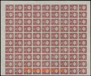 187942 - 1919 ČSR I.  kompletní 100-známkový arch s kolky 1 Koruna če