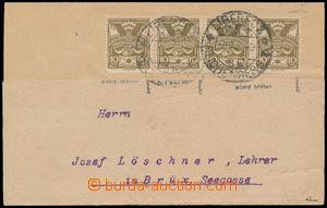 187972 - 1921 firemní lístek adresovaný do Mostu, vyfr. 4-páskou Pof.