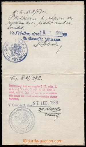 188209 - 1932 CŠR I. / řidičský průkaz a vysvědčení o zkoušce pro pří
