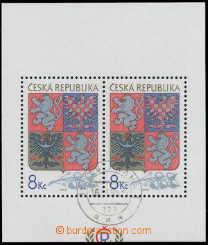 188392 - 1993 Pof.A10, Státní znak 8Kč, aršík s odlišným ořezem, DR P