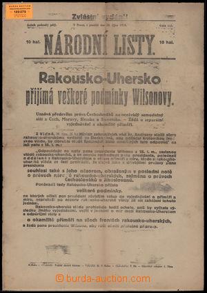 189079 - 1918 VZNIK ČSR  -  zvláštní vydání Národních listů ze dne 28