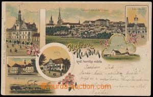 189619 - 1900 KLADNO - litografická koláž, pohled na město, nám�