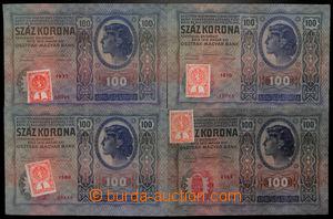 189690 - 1919 Ba.5a, 5B, sestava 4ks bankovky 100K, 2.1.1912, 3x nezo