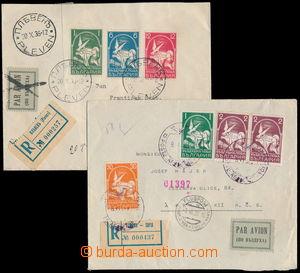 190017 - 1936 sestava 2ks R+Let-dopisů do ČSR, s pěknými frankaturami