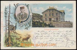 190161 - 1901 ŠERÁK (Hochschar) - barevná lito koláž, chata Georgs-Sc