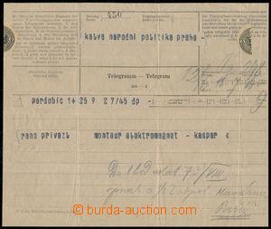 190191 - 1911 PIONÝRSKÉ LETY - KAŠPAR   historický telegram od 1. čes