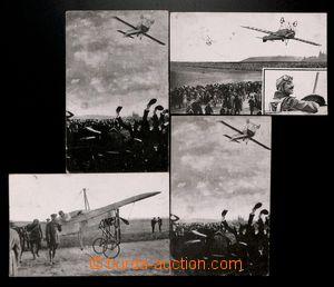 190197 - 1913 PIONÝRSKÉ LETY - PÉGOUD  sestava 4ks prošlých pohlednic
