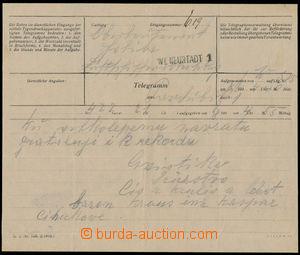 190207 - 1913 RU LETECKÉ VOJENSKÉ ÚTVARY - HOLEKA  telegram s gratula